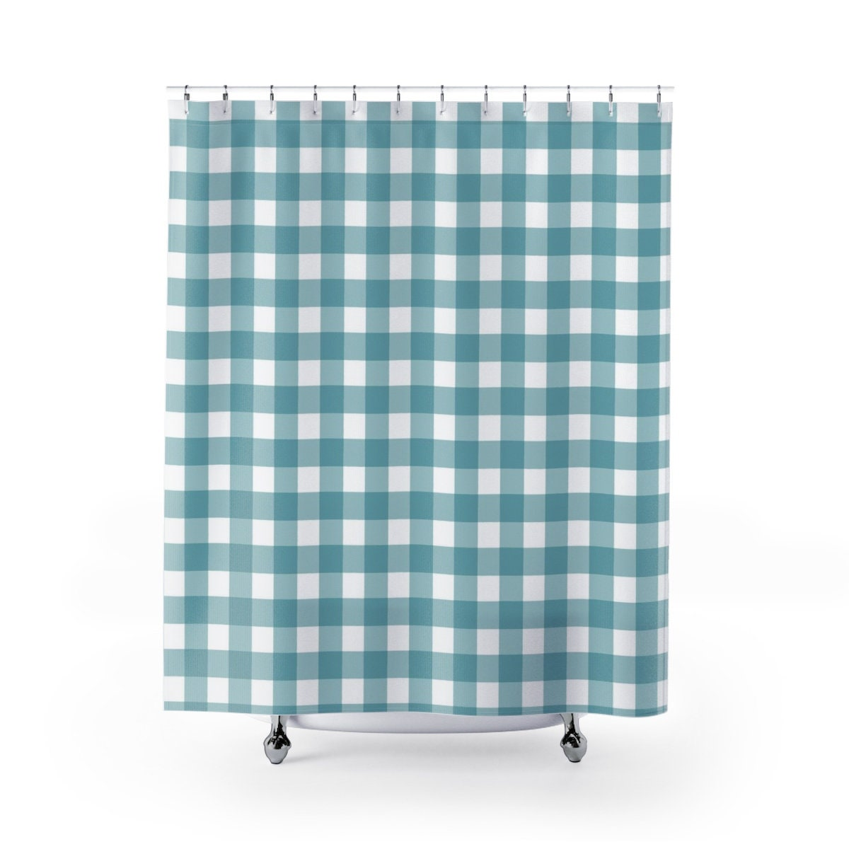 Aqua Blue Gingham Shower Curtain Farmhouse Bathroom Decor Bath Curtain Blue Kids Bathroom Ideas