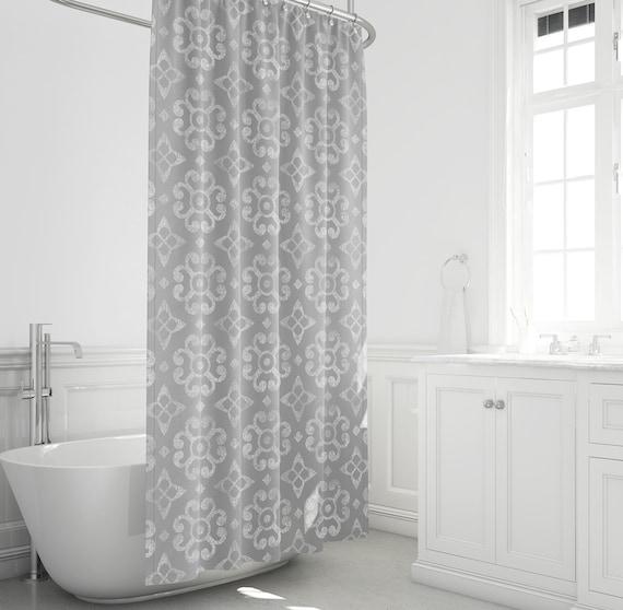 Farmhouse Shower Curtain Gray And White Bathroom Decor Etsy