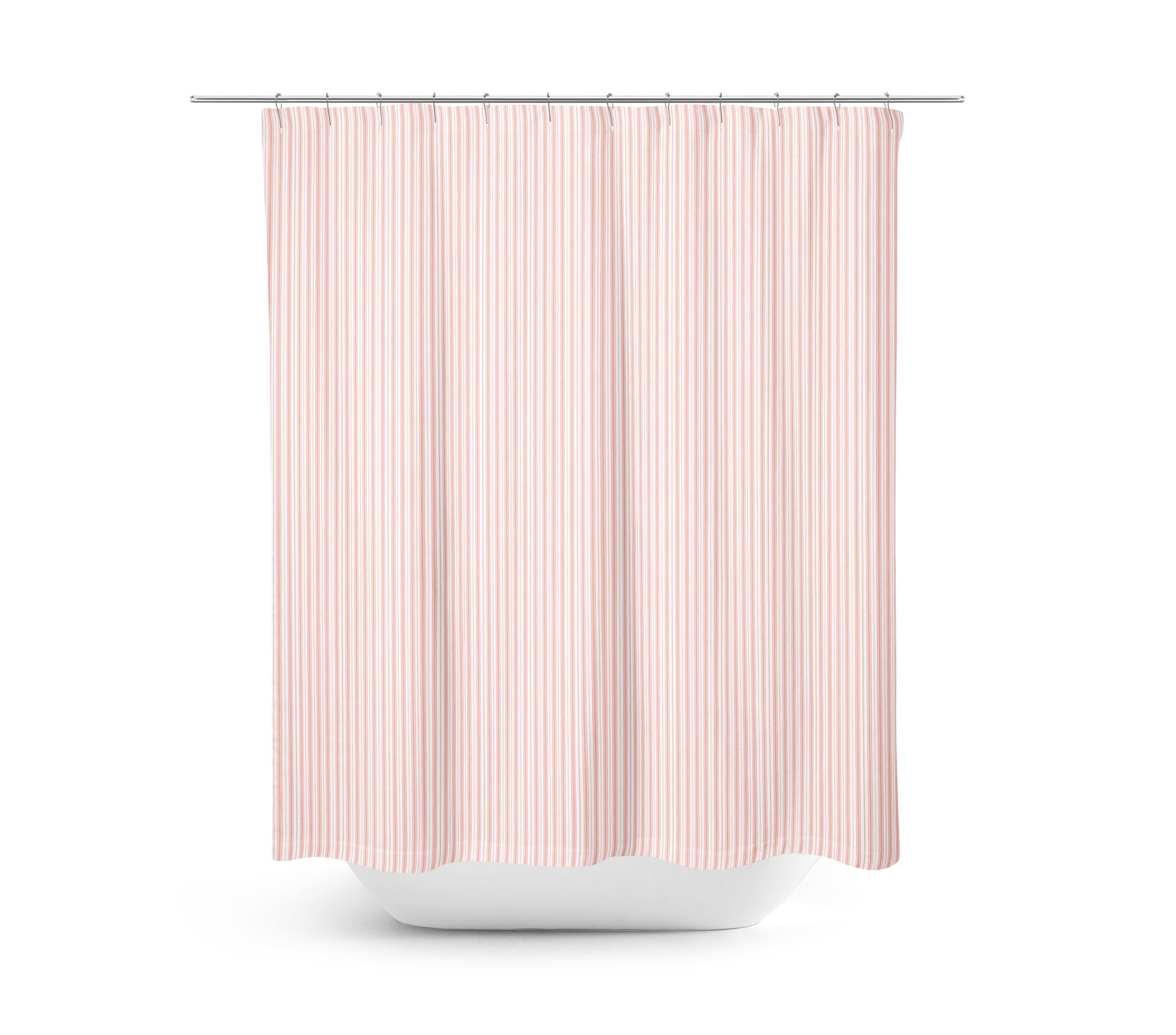 Pink Ticking Shower Curtain Farmhouse Bathroom Decor Light Girl Country Stripes