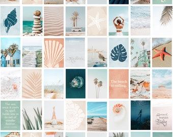 Beach Photo Collage Kit wall decor, Digital Download, 48 Photos Coastal decor, Bedroom decor Blue for Dorm Room wall decor, large art