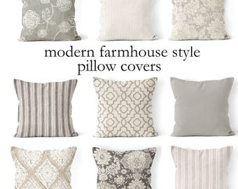 """throw pillow covers,mix and match farmhouse pillow cover 18""""x18"""", 20""""x20"""", 22x22 or 24""""x24"""" tan and cream,beige, neutral colors grey gray"""