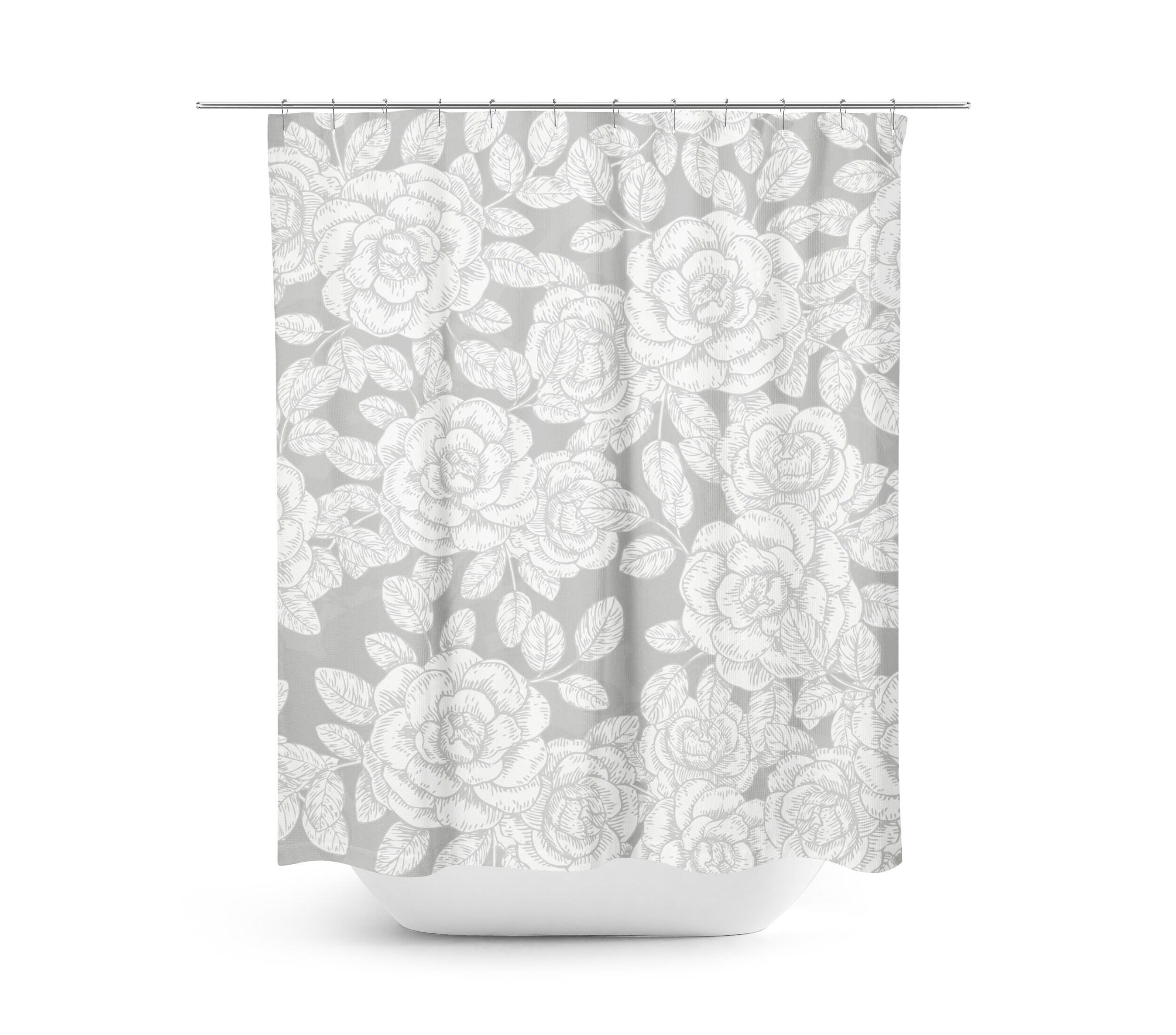 Gray Floral Shower Curtain Farmhouse Bathroom Decor Gray Shower Curtain Country Decor Fabric Shower Curtain Vintage Roses Gray Bathroom