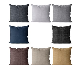 Neutral pillow covers indoor or outdoor, charcoal gray, navy, light grey, black and tan