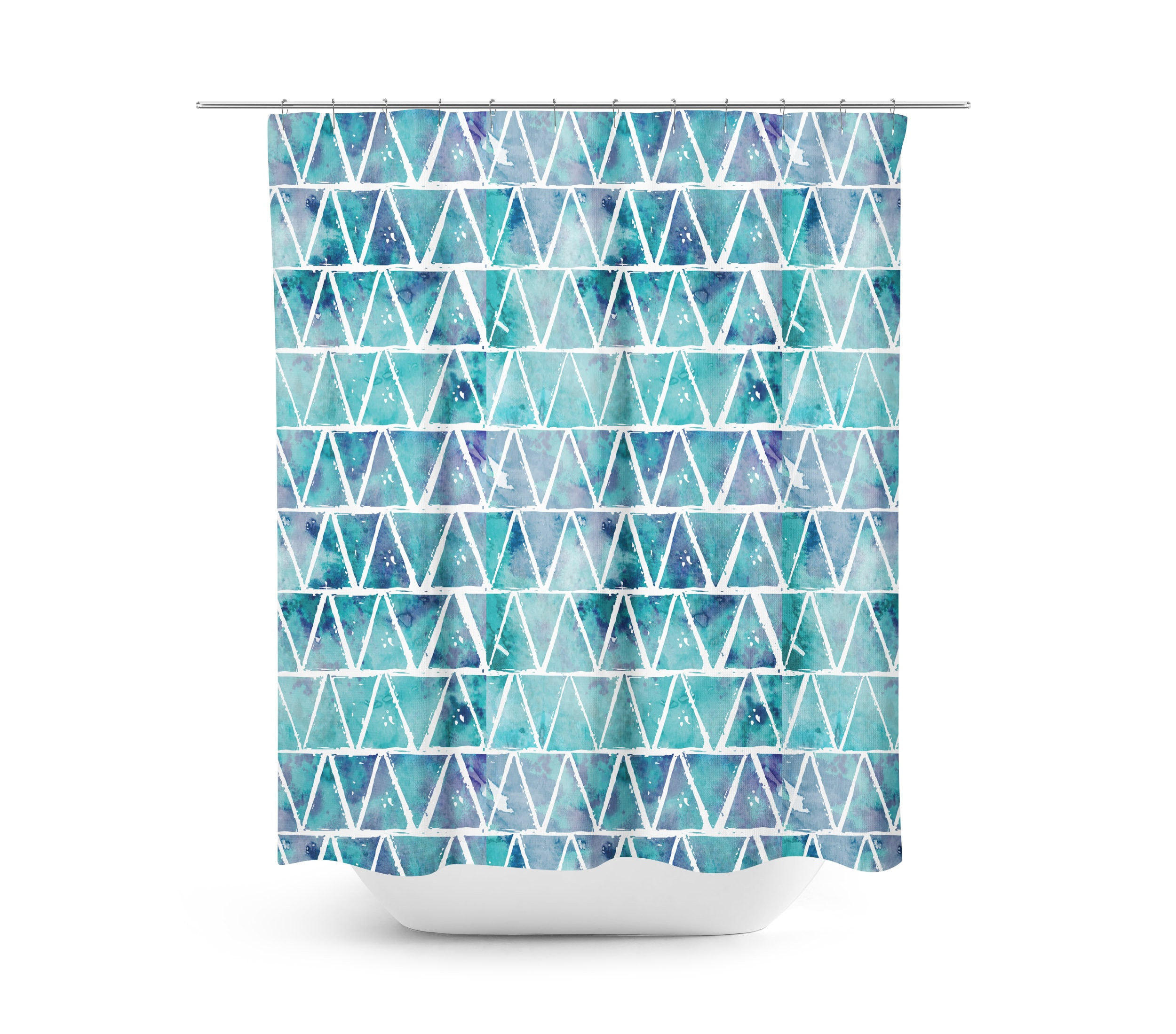 Shower Curtain Blue Watercolor Art 71x74 Triangles Geometric Beach Decor Boho Bathroom