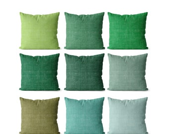 Solid green pillow covers indoor or outdoor emerald, seaglass, apple green and eucalyptus