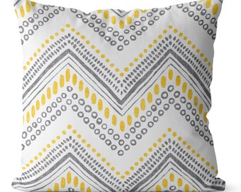 Sale gray and yellow Pillow cover 18x18 inch, large chevron
