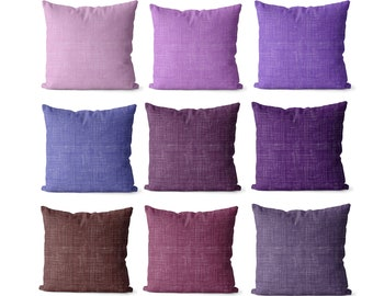 Solid purple pillow covers indoor or outdoor, wine, violet, lilac, or purple