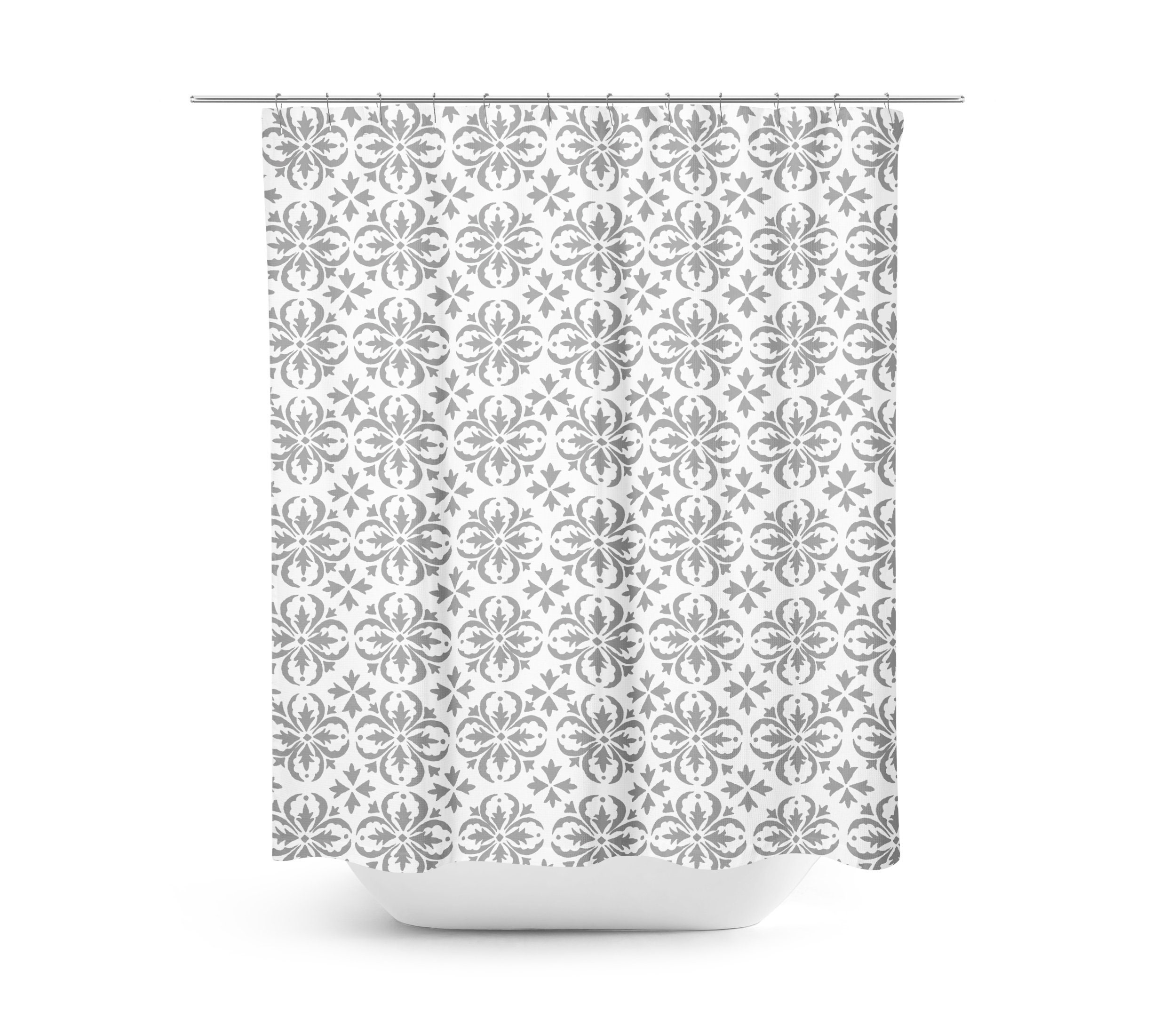 Farmhouse Shower Curtain Gray Bathroom Rustic White And Geometric Decor For Master Bath