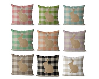 Easter pillow covers 18x18, 20x20, 16x16 or 14x14 inch  farmhouse Easter bunny pillows, Easter decor, pastel colors pink, purple blue peach