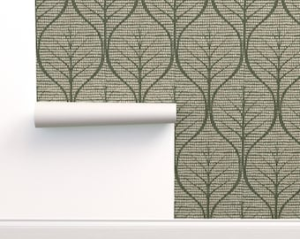 Olive green and tan wallpaper with large leaves wall covering apartment wall decor, peel and stick removable or water activated