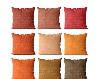 Solid orange pillow covers indoor or outdoor shades of orange, red orange, peach, leather, safety cone orange, deep orange, true brown