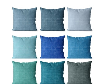 Solid shade of blue pillow covers indoor or outdoor turquoise, ocean, sky blue, teal and gray blue