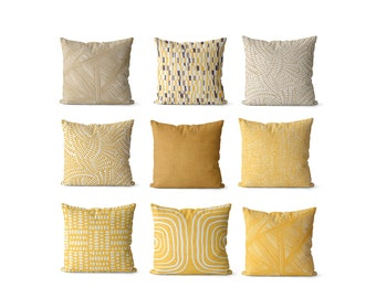 yellow pillow covers for living room tan, mustard yellow decor boho style decorative pillow covers, yellow feng shui decor for health bagua