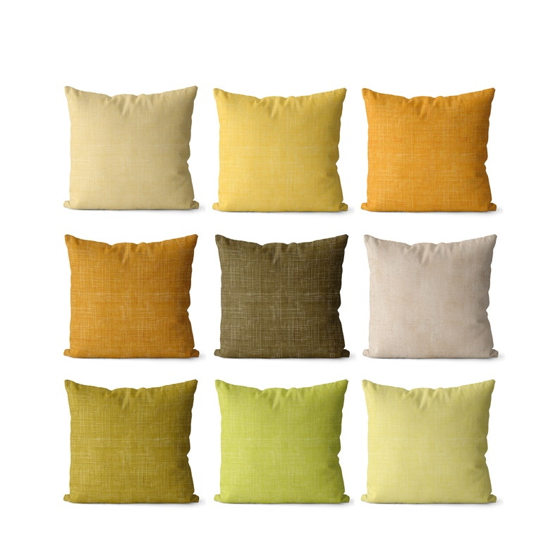 Solid green and yellow pillow covers indoor or outdoor shades image 1