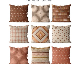 Boho pillow covers 18x18 with terracotta, tan, beige and warm brown decor,  southwest patterns, earthtones rustic decor