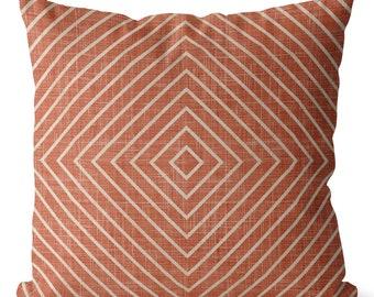 SALE Terracotta diamonds  pillow cover boho colors TERRACOTTA beige colors for living room, geometric lines