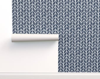 Navy blue wallpaper chevron wall covering apartment wall decor, peel and stick removable, pre-pasted dark blue rustic coastal