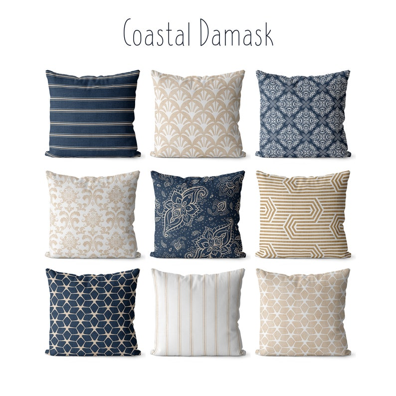 Navy and tan pillow covers indoor/outdoor coastal decor image 1