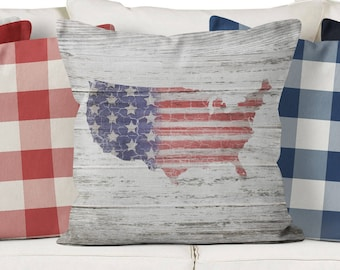 patriotic pillow cover, Americana pillow cover,summer pillow cover, fourth of July decor, farmhouse fourth of July, rustic summer decor