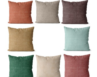 Boho pillow covers, desert colors, indoor or outdoor, solid  green, dark coral, beige, brown,  tan, and terracotta