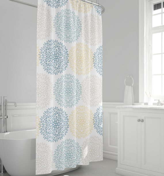 Fl Shower Curtain Blue And Yellow, Grey And Yellow Bathroom Accessories