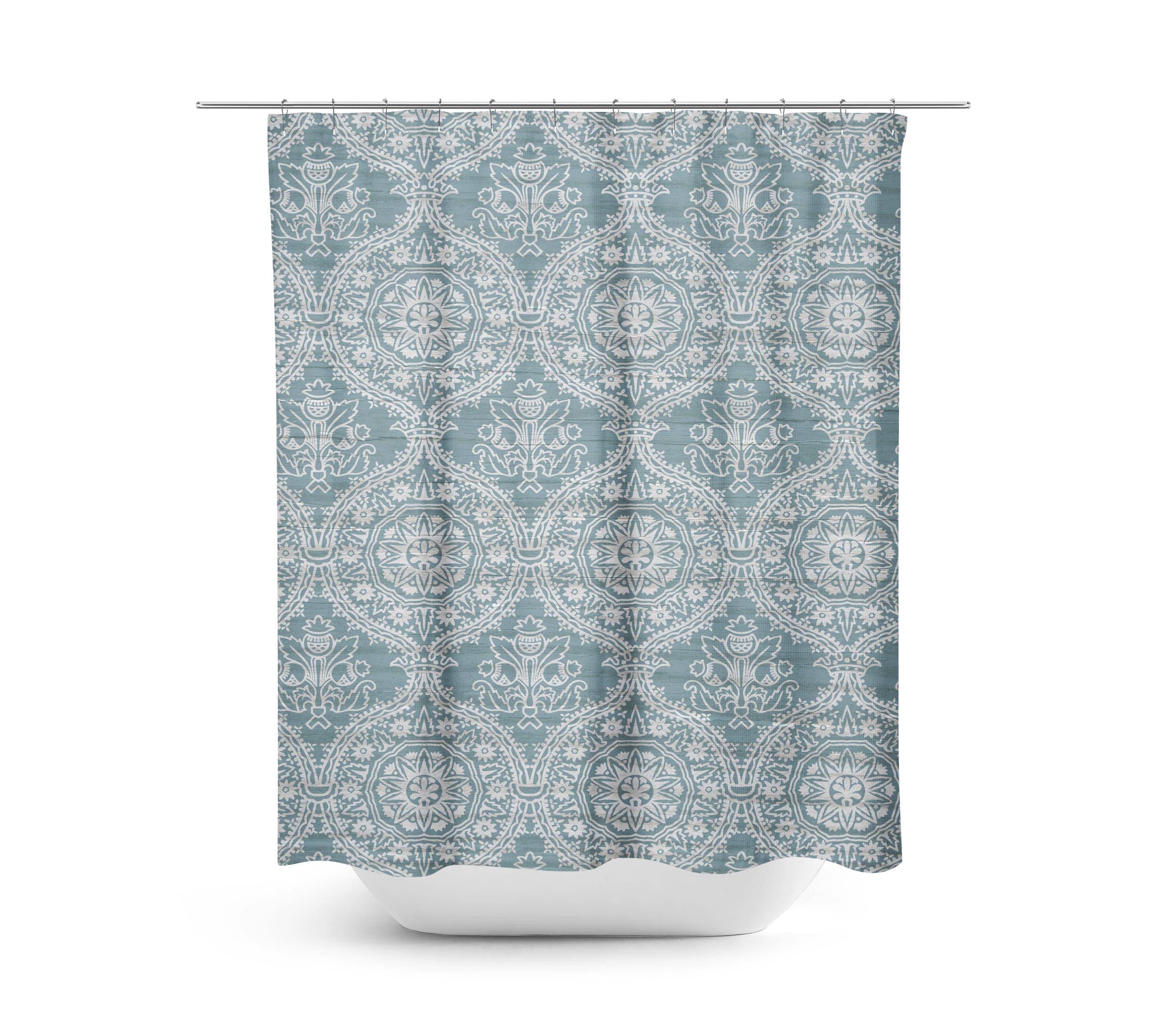 Farmhouse Shower Curtain Spa Blue Bathroom Rustic Fixer Upper Style Decor