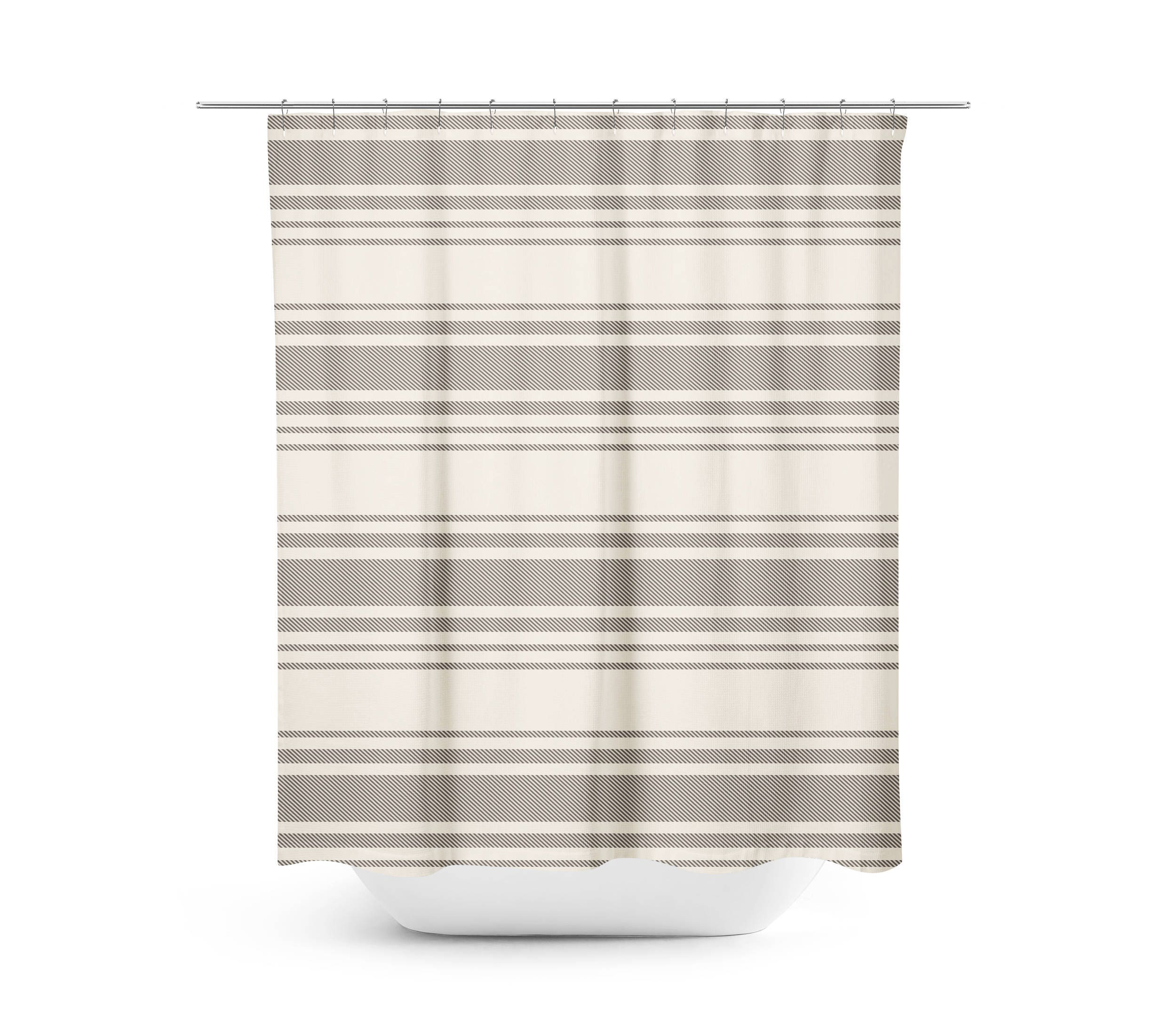 Farmhouse Shower Curtain Gray Stripe Bathroom Rustic Cream And Fixer Upper Style