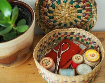 Vintage Sewing Basket- Woven Basket