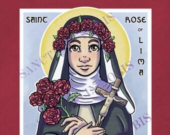 Saint Rose of Lima Catholic Art Print, Iconography, Saint Icon, Saint Art, Confirmation Gift, Religious Art