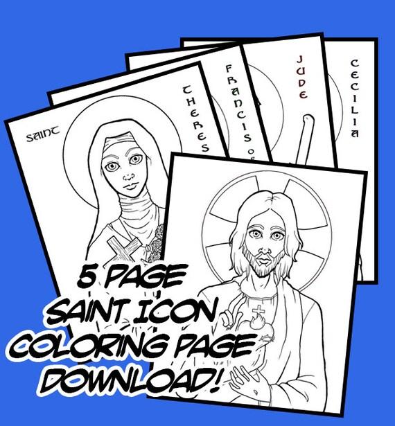 Católica Santo icono para colorear páginas dibujado a mano   Etsy