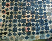 RESERVED FOR HILLARY Antique Patchwork Quilt Top, Indigo Prints and Shirting, Late 1800's