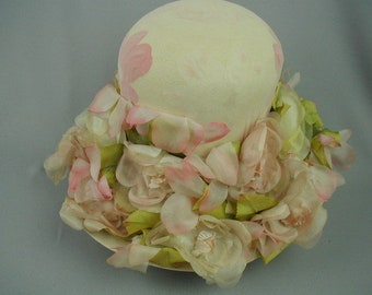 a41902fb Vintage Spring and Summer Hat, Christian Dior Chapeau, With Pink and Cream  Roses and Green Foliage, 1960's Dressy Hat, Retro Hat