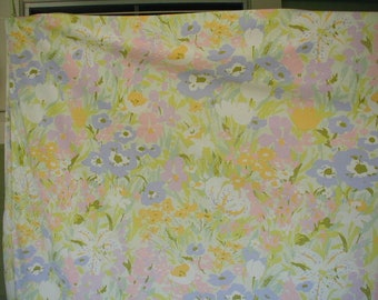 Vintage Bed Sheet Set, Queen Bed Size With 2 Matching Pillowslips,  Impressionist Floral Print, Pastel Colors