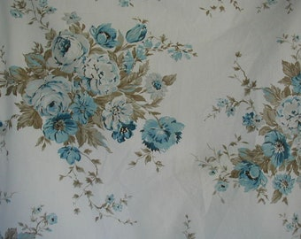 Vintage Duvet Cover, Full-Queen Bed Size, with Pillow Shams, Reversible,  Floral Print, Medium Blue Roses with Taupe Foliage, 100% Cotton
