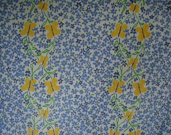 Vintage Bed Sheets, Twin Bed Size, 2 Flat Bed Sheets, Darling Blue, White and Yellow Floral Print, With Ruffles and Buttrflies