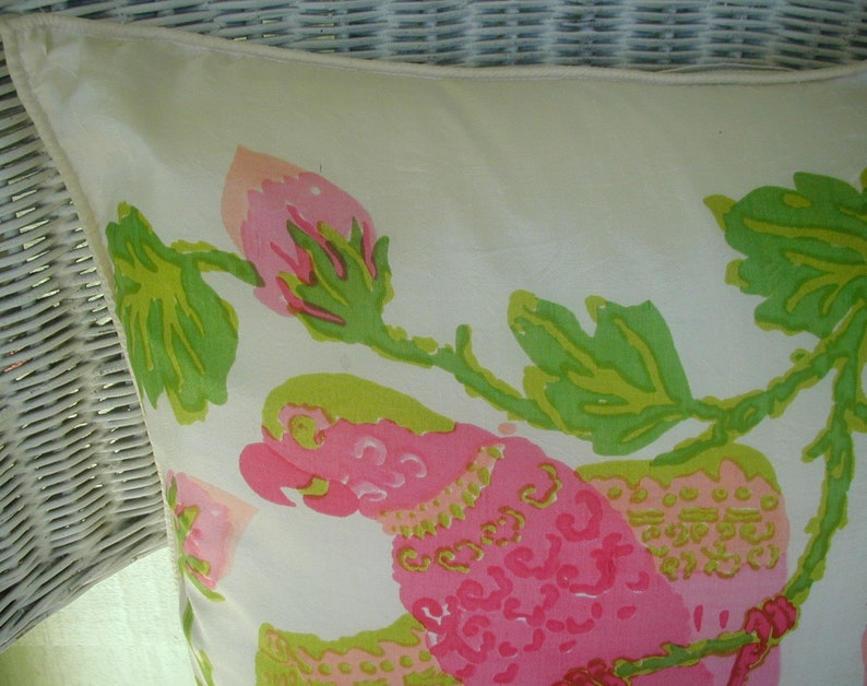Tropical Vintage Pillow Covers Silk Pillow Covers with Brightly Colored Parrot Shades of Bright Pink and Green 15 x 16 With Zipper