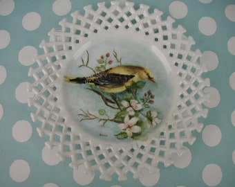 Vintage Porcelain Decorative Plate, Hand Painted Yellow Bird, For Wall Hanging,  Shabby Cottage Decor, Reticulated Edge, One of a Kind