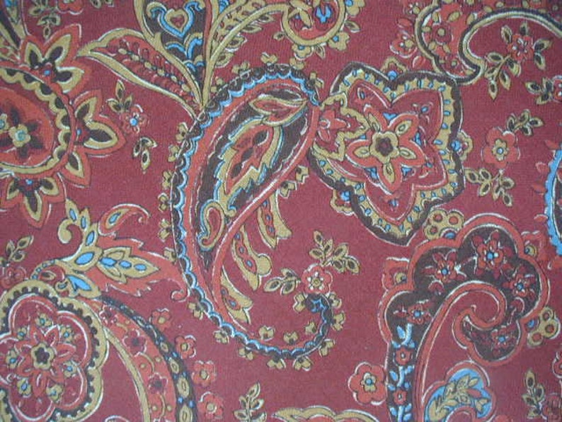 Designer Weight Fabric Round Tablecloth Antique Red 66 Diameter Teal and Wheat Vintage Paisley Print Tablecloth Gold Brown