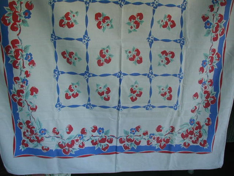 Vintage Mid-Century Tablecloth, With Strawberries, Border Print, 1940\'s  Tablecloth, 100% Cotton, Blue, Red and Mint Green, 45 x 51\