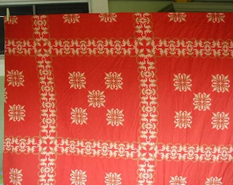 """Flannel Duvet Cover, Full-Queen Bed Size, Measures approx. 86"""" wide x 82""""long, Red Flannel, Looks Like Crosstitching, Warn and Cozy"""