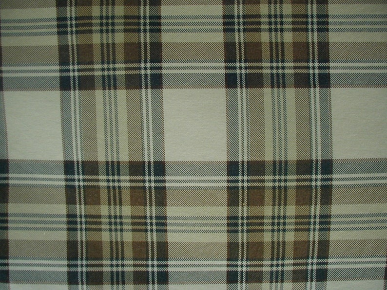 Vintage Duvet Cover with 2 Matching Pillow Shams Cotton Plaid Pattern Brown Full Double Bed Size Beige and White Black Button Closure