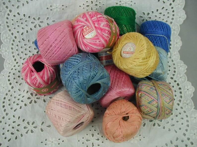 Vintage Cotton Crochet Thread Assorted Colors 16 Balls Bowl Etsy