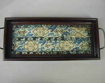 Antique Asian Hand Embroidered Kimono Cuff, Framed in Small Tray, Chinese Embroidery, Silk Thread, Floral Design, Shades of Blue on Cream