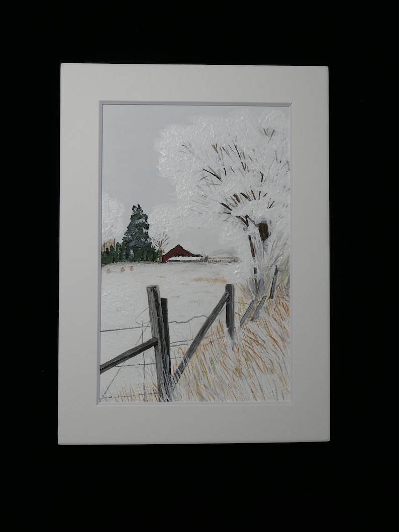 4 x 6 inch matted picture by JadoreArtCreations WC-011 Tucked Away for the Winter Watercolor Painting
