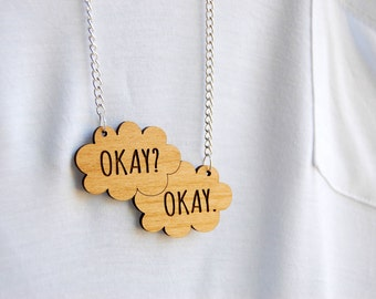 Okay. Okay. TFiOS Inspired Wooden Chain Necklace.