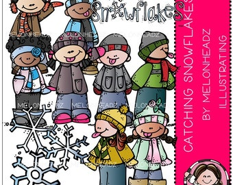 Catching Snowflakes clip art - Combo Pack