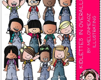 Kidlettes in Overalls clip art - Combo Pack