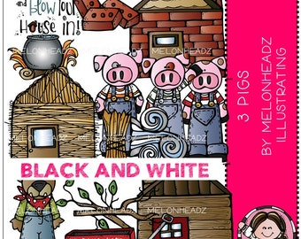 Three Little Pigs clip art - BLACK AND WHITE