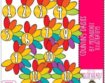 Counting Daisies clip art - COMBO PACK
