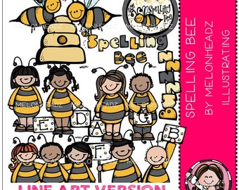 Spelling Bee clip art - LINE ART
